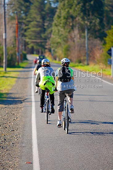 Three women riding bicycles on a straight country back road, New Zealand (NZ) stock photo.