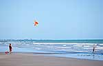 Flying a kite at the beach in summer