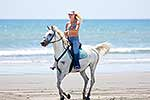 Young woman riding horse at beach