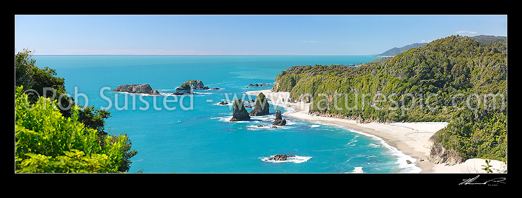 Image of Looking north along remote South Westland Coast from Knights Point over Murphy Beach, Herring Stream and rocky outcrops. Rainforest cloaked headlands, Haast, Westland District, West Coast Region, New Zealand (NZ) stock photo image