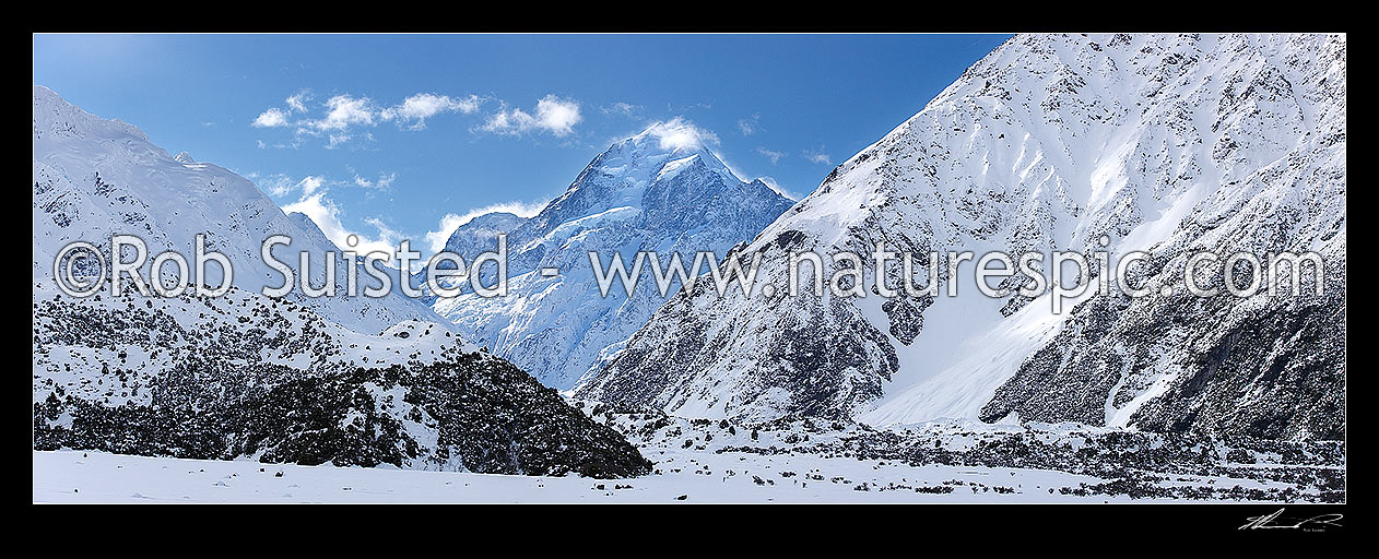 Image of Aoraki / Mount Cook (3754m) in winter snow. Hooker River Valley. Panorama, Aoraki / Mount Cook National Park, MacKenzie District, Canterbury Region, New Zealand (NZ) stock photo image