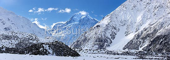 Aoraki / Mount Cook (3754m) in winter snow. Hooker River Valley. Panorama, Aoraki / Mount Cook National Park, MacKenzie District, Canterbury Region, New Zealand (NZ) stock photo.