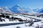 Driving from Mount Cook at winter