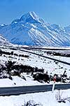 Snowy road to Mount Cook
