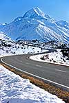 Mount Cook road in snowy conditions