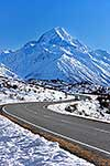 Road to Mount Cook with snow
