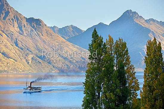 TSS Earnslaw - historic steamship on Lake Wakatipu, returning from Walter Peak Station. Working since 1912, Queenstown, Queenstown Lakes District, Otago Region, New Zealand (NZ) stock photo.
