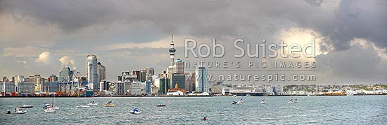 Auckland City panorama of CBD, buildings, waterfront and Sky tower from Devonport, with cruise ship berthed. Moody morning skies, Auckland City, Auckland City District, Auckland Region, New Zealand (NZ) stock photo.