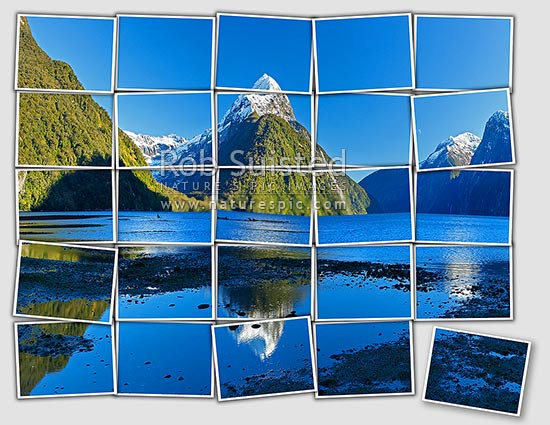 Mitre Peak reflecting in Milford Sound. Mitre Peak left (1683m), Stirling Falls left. Postcards effect, Milford Sound, Fiordland National Park, Southland District, Southland Region, New Zealand (NZ) stock photo.