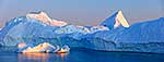 Sunset over icebergs, Greenland
