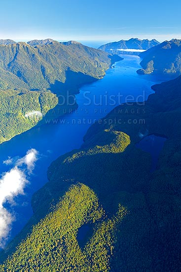 Acheron Passage aerial view, looking north from Dusky Sound. Resolution Island left, Wet Jacket Arm top right, Dusky Sound, Fiordland National Park, Southland District, Southland Region, New Zealand (NZ) stock photo.
