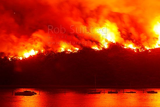 Giant wild bushfire on the Titahi Bay Peninsula with Yachts and Porirua Harbour in foreground at night, Titahi Bay, Porirua City District, Wellington Region, New Zealand (NZ) stock photo.