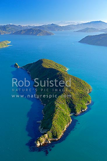 Motuara Island in the Outer Queen Charlotte Sound, an Scenic and Historic Reserve. Blumine Island behind. Aerial view from north, Marlborough Sounds, Marlborough District, Marlborough Region, New Zealand (NZ) stock photo.