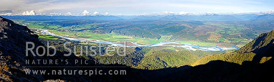 Grey River valley panorama with towns of Blackball, Ahaura, Nelson Creek, Ngahere, Stillwater below the Paparoa Range. Lake Brunner distant right, Grey Valley, Grey District, West Coast Region, New Zealand (NZ) stock photo.