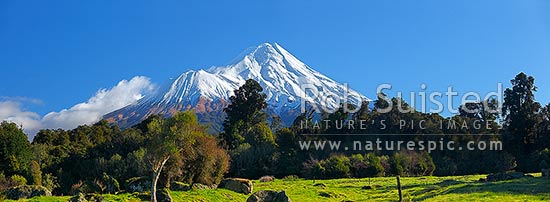 Mount Taranaki / Mt Egmont (2518m), volcanic cone in winter. Panorama, Egmont National Park, Taranaki, Stratford District, Taranaki Region, New Zealand (NZ) stock photo.