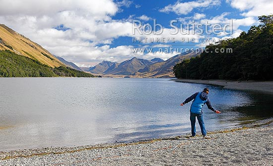 Visitor throwing stones into North Mavora Lake nestled between the Livingstone and Thomson Mountains ranges. Snowdon Forest Conservation Area & Mararoa River Valley, Te Anau, Southland District, Southland Region, New Zealand (NZ) stock photo.