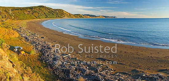 Port Awanui and Te Wharau Beach with tent campers enjoying summer morning. East Cape and East Island (Whangaokeno) visible in distance. Panorama, Port Awanui, East Coast, Gisborne District, Gisborne Region, New Zealand (NZ) stock photo.