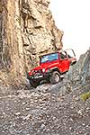 Jeep climbing over