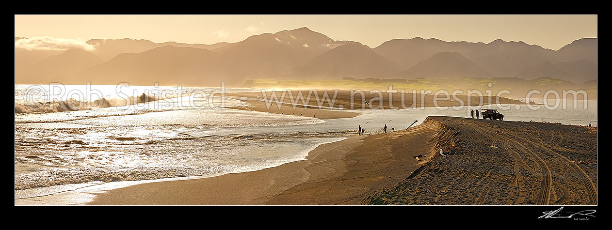 Image of Lake Onoke entrance and Ruamahanga River mouth in Palliser Bay with fishermen and whitebaiters in evening. Remutaka (Rimutaka) Ranges beyond. Panorama, Lake Ferry, South Wairarapa District, Wellington Region, New Zealand (NZ) stock photo image