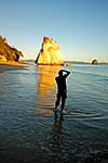 Tourist at Cathedral Cove