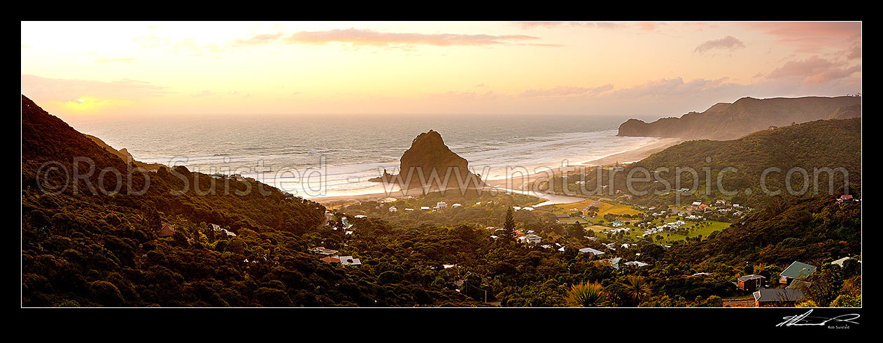 Image of Piha Beach with Lion Rock prominent in the small west coast village surrounded by the Waitakere ranges at sunset. Te Waha Point and Kohunui Bay distant. Panorama, Piha Beach, Auckland, Waitakere City District, Auckland Region, New Zealand (NZ) stock photo image