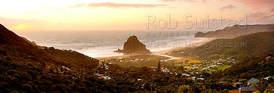Piha Beach with Lion Rock prominent in the small west coast village surrounded by the Waitakere ranges at sunset. Te Waha Point and Kohunui Bay distant. Panorama, Piha Beach, Auckland, Waitakere City District, Auckland Region, New Zealand (NZ) stock photo.
