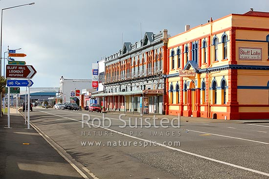 Bluff township buildings on Gore Street and Marine Parade, Bluff, Invercargill District, Southland Region, New Zealand (NZ) stock photo.