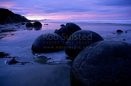 Giant concretions Moeraki boulders at sundown, Moeraki, Waitaki District, Otago Region, New Zealand (NZ) stock photo.