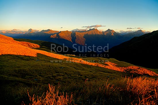 Sunet on the Thomas Range in South Westland, above the Haast River Valley. Mt Brewster (2516m) far left, Haast, Westland District, West Coast Region, New Zealand (NZ) stock photo.