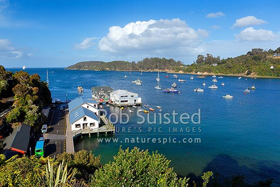 Halfmoon Bay, wharf, and fishing boats moored in the bay at the main town on Stewart Island, Rakiura, Halfmoon Bay, Oban, Stewart Island District, Southland Region, New Zealand (NZ) stock photo.