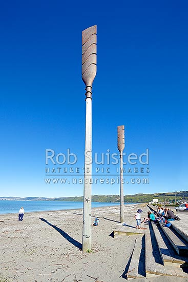 Oars sculpture on Petone Beach called 'Salute' by John Calvert 2003, recognising those who arrived on Petone's shores, Petone, Hutt City District, Wellington Region, New Zealand (NZ) stock photo.