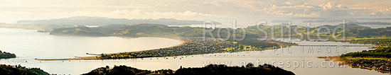 Omaha Beach and Bay, Whangateau Harbour entrance, Ti Point and Tawharanui Peninsula at left with Kawau Island beyond, at dawn. Panorama, Omaha, Rodney District, Auckland Region, New Zealand (NZ) stock photo.