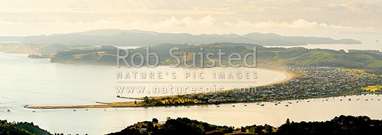 Omaha Beach, Bay and Whangateau Harbour entrance, with Tawharanui Peninsula and Kawau Island beyond, at dawn. Panorama, Omaha, Rodney District, Auckland Region, New Zealand (NZ) stock photo.