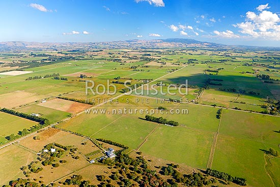 Southern Wairarapa farmland, with Aorangi Ranges and Mt Ross (981m) beyond. Aerial photo, Featherston, South Wairarapa District, Wellington Region, New Zealand (NZ) stock photo.