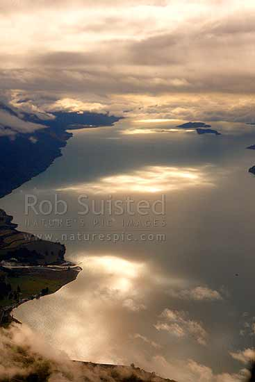 Lake Wakatipu aerial view towards Pig and Pigeon Islands. Mt Nicholas Station, Von River mouth and Whites Bay bottom left, Queenstown, Queenstown Lakes District, Otago Region, New Zealand (NZ) stock photo.