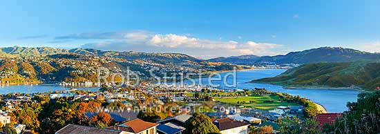 Porirua Harbour panorama from Camborne. Mana and Paremata centre left, Porirua City distant right. Papakowhai centre and Titahi Bay Onepoto far right, Plimmerton, Porirua City District, Wellington Region, New Zealand (NZ) stock photo.