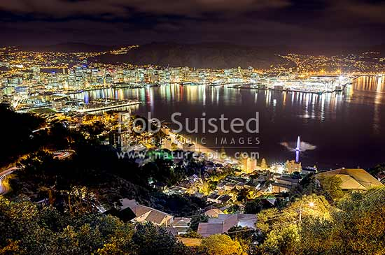 Wellington Harbour and city at night. CBD, Lambton Harbour, Overseas terminal, Chaffers Marina, Container Terminal, Oriental Bay Beach and Carter Fountain playing, Wellington, Wellington City District, Wellington Region, New Zealand (NZ) stock photo.