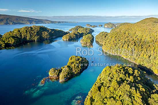 Many Islands and Anchor Island (with Luncheon Cove bottom right) at Dusky Sound entrance. Aerial view, Dusky Sound, Fiordland National Park, Southland District, Southland Region, New Zealand (NZ) stock photo.