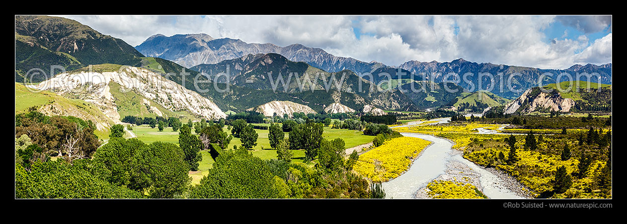 Image of Papatea Fault showing its face as new white limestone faces where over 4m uplift has caused slope failures from left to right, crossing the Clarence River. Kaikoura Ranges behind. Kaikoura M7.8 earthquake. Panorama, Clarence, Kaikoura District, Canterbury Region, New Zealand (NZ) stock photo image