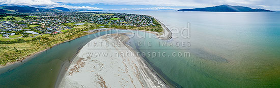 Waikanae River mouth, Beach and estuary scientific Reserve. Paraparaumu Beach beyond and Kapiti Island and Marine Reserve far right. South Island in distance. Aerial panorama, Waikanae, Kapiti Coast District, Wellington Region, New Zealand (NZ) stock photo.