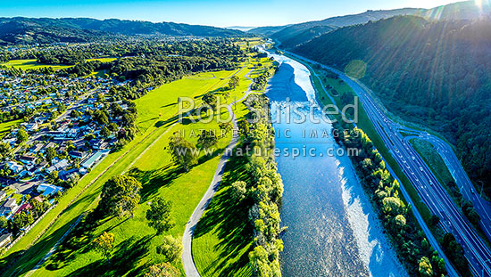 Hutt Valley aerial panorama, looking down the Hutt River, River Road (SH2), and over Moonshine Park towards Lower Hutt City, Upper Hutt, Wellington Region, New Zealand (NZ) stock photo.