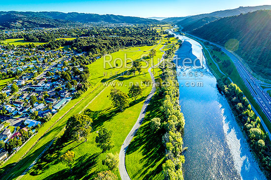 Hutt Valley aerial view looking down the Hutt River, River Road (SH2), and over Moonshine Park towards Lower Hutt City, Upper Hutt, Wellington Region, New Zealand (NZ) stock photo.