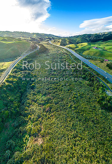 Taupo Swamp, a protected wetland under the QEII National Trust. Taupo Stream, hemmed in by the NIMT railway line and State Highway 1 (SH1). Aerial view looking north, Plimmerton, Porirua City District, Wellington Region, New Zealand (NZ) stock photo.