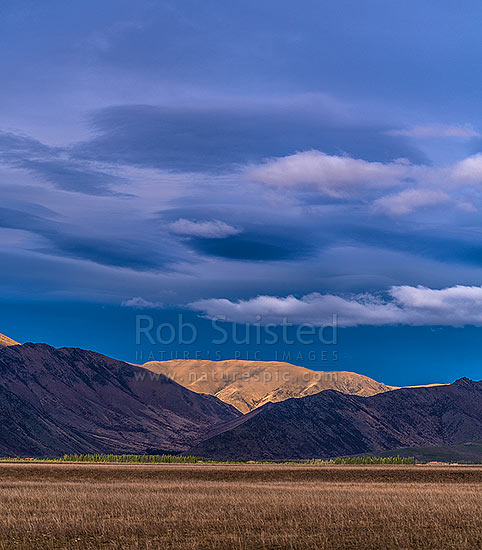 Morning light and clouds on the Ewe south of Omarama (land of light). High country farming stations in the Mackenzie Basin. Tara Hills. Square format, Omarama, Waitaki District, Canterbury Region, New Zealand (NZ) stock photo.