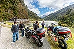 Motorbike tourists, Buller Gorge, Westport
