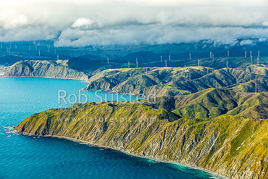 Meridian Energy Project West Wind farm of 62 turbines at Terawhiti Station and Makara Farm west of Wellington. Ohau Point and Opau Bay left. Cape Terawhiti, aerial view, Makara, Wellington City District, Wellington Region, New Zealand (NZ) stock photo.