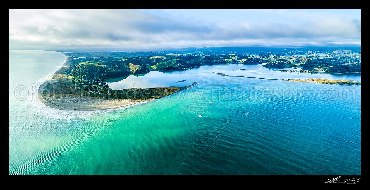 Image of Ohiwa Harbour mouth, looking east over Ohiwa. Whangakopikopiko Island right. Aerial panorama, Ohope, Bay of Plenty, Western Bay of Plenty District, Bay of Plenty Region, New Zealand (NZ) stock photo image