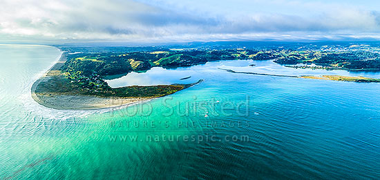 Ohiwa Harbour mouth, looking east over Ohiwa. Whangakopikopiko Island right. Aerial panorama, Ohope, Bay of Plenty, Western Bay of Plenty District, Bay of Plenty Region, New Zealand (NZ) stock photo.
