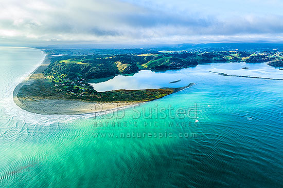 Ohiwa Harbour mouth, looking east over Ohiwa. Whangakopikopiko Island right. Aerial view, Ohope, Bay of Plenty, Western Bay of Plenty District, Bay of Plenty Region, New Zealand (NZ) stock photo.