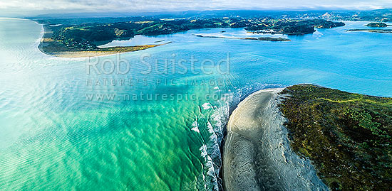 Ohiwa Harbour mouth, looking east over Ohiwa. Whangakopikopiko Island centre. Aerial panorama, Ohope, Bay of Plenty, Western Bay of Plenty District, Bay of Plenty Region, New Zealand (NZ) stock photo.